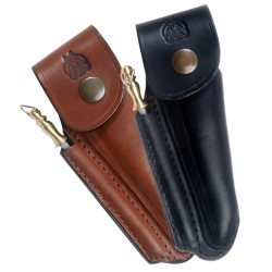 Shaped leather sheath for Laguiole with sharpener