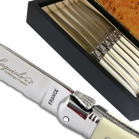 Laguiole steak knives ABS luxury white with micro-serrated-blade - Image 1289