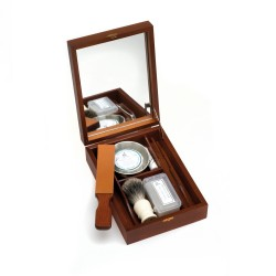 Historic shaving-box for straight rasors with mini- strop, razor sharpening paste, shaving brush, shaving bowl, soap, alum block