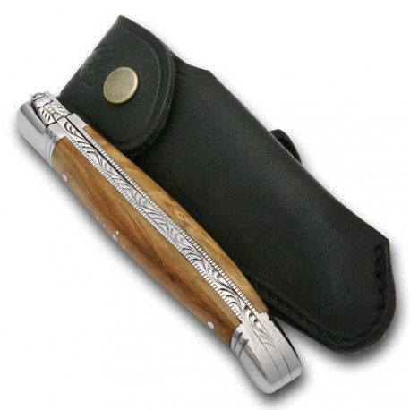 Laguiole folding knife Olive Wood handle stainless steel + Finest quality leather sheath - Image 1899