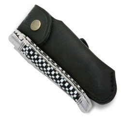 Laguiole knife with checkerboard Cristallium handle with leather sheath