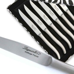 Box set of 6 flat stainless steel Laguiole steak knives with sandblasted finish