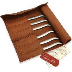 Leather clutch with 6 sandblasted flat stainless steel Laguiole steak knives