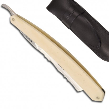 Historic Straight Razor 6/8 Bone handled - Forged decorated on the back of the blade - Image 376