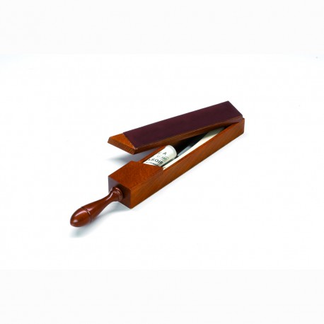 Double sided leather covered wooden strop box - Image 388
