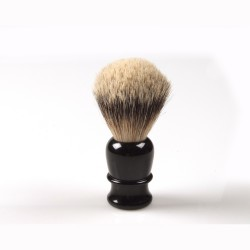Shaving brush, hand turned, black plastic handle