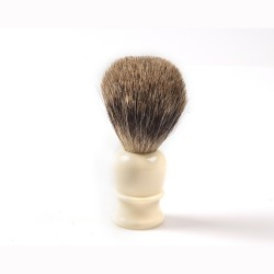Shaving brush, hand turned, white plastic handle