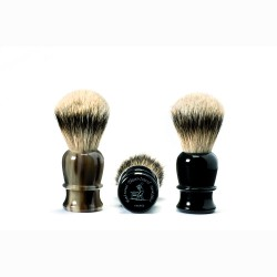 Shaving brush, hand-tied , hand-filled, genuine black horn handle