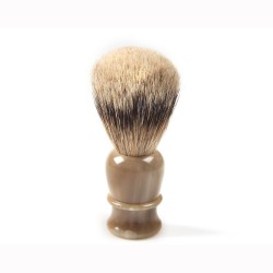 Shaving brush hand-tied, hand-filled, genuine blond horn handle