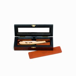 Deluxe elm burl box for 1 straight razor