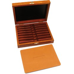 Superbox in varnished beech for 7 days straight razors set or collection