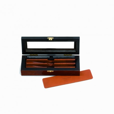 Deluxe elm burl box for 2 straight razors set - Image 443
