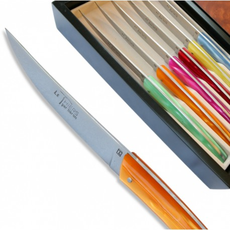 Set 6 Thiers steak knives - coloured Plexiglas handles - Image 483