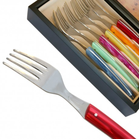 Set 6 Thiers Forks - coloured Plexiglas handles - Image 489