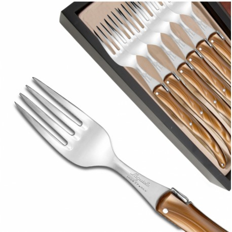 Set of 6 Laguiole forks pearly brown plexiglass handles - Image 577