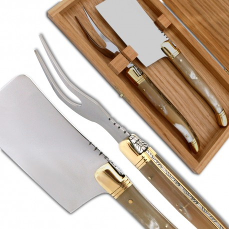 Laguiole Cheese knife set blonde Horn Handle - Image 644