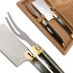 Laguiole Cheese knife set Black Horn Handle
