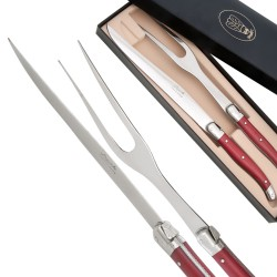 Carving Set Laguiole pearlized red color