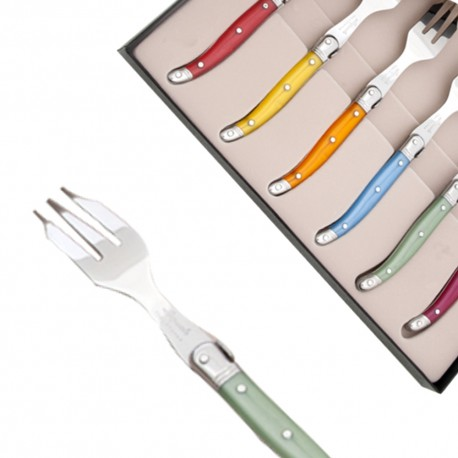 Set of 6 cake forks Laguiole pearlized assorted colors - Image 833